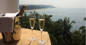 Champagne with a view over the Arabian Sea