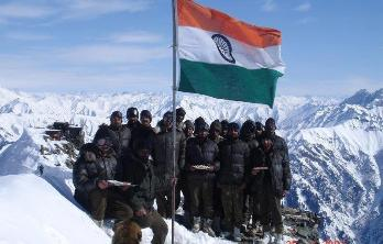 Celebrating Independence day on the Siachen Galcier