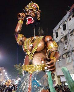 Narakasur statue during the festival of Diwali in Goa