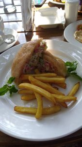 Goan Poi Pocket with chicken at The Garden Cafe at the Fort Tiracol Heritage Hotel